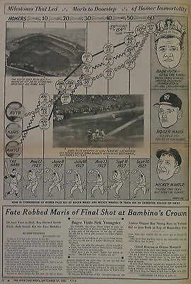 September 27, 1961 The Sporting News Roger Maris Mickey Mantle Babe Ruth Chase