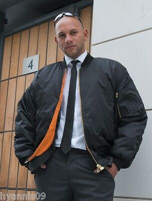 Mens Security Ma1 Bomber Doorman/biker  Black Jacket