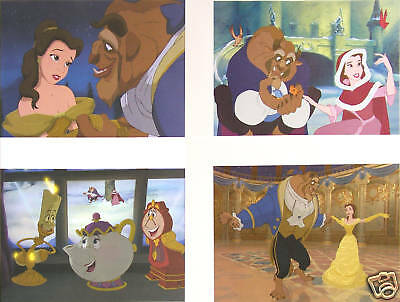 4 Disney Store Pre-Sale Lithographs BEAUTY AND & THE BEAST 2002 MINT w/Portfolio