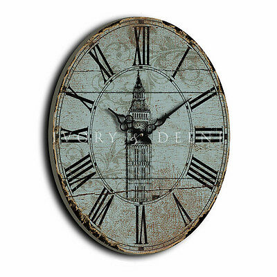 LARGE 60cm Old Vintage Mint Oval WALL CLOCK English Home Roman Numerals Wood NEW