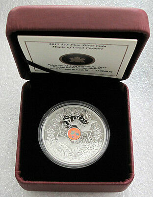 2012 Canada $15 Dollars Silver Coin Maple Of Good Fortune .9999 Hologram