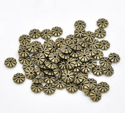 100 Bronze Tone Flower Spacer Beads Findings 7x2mm