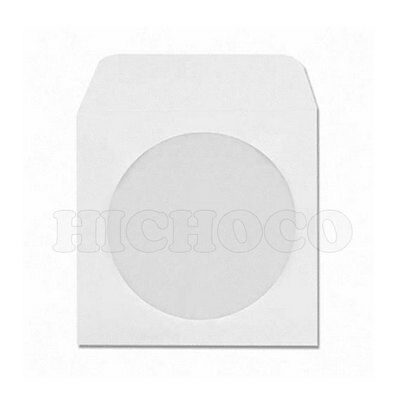 1000 Wholesale CD DVD R White Paper Sleeve Envelope with  Window Flap
