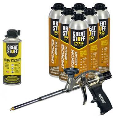 Great Stuff Wall & Floor Adhesive, 26.5 oz Gun Foam (6) Cans, Cleaner, Foam Gun