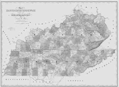 1839 TN MAP Telford Tiger Valley Tullahoma Union City Tennessee History HUGE