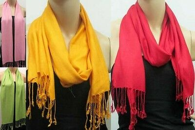 CLEARANCE New FANTASTIC PASHMINA OBLONG SCARF WITH FRINGE Solid Color For Winter