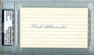 Turk Edwards Signed Index Card PSA/DNA Autographed Redskins