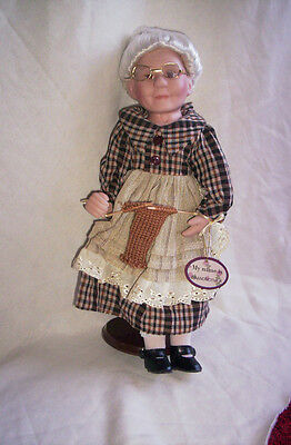 Genuine Fine Porcelain Grandma  Doll In Mint Condition