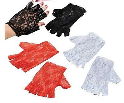 80's Gothic Madonna fancy Dress Costume Black White Red Lace fingerless Gloves