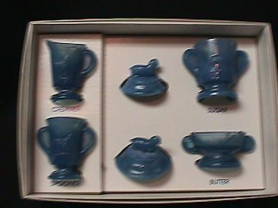 Boyd Glass Child's Lamb Set In Fantasia Blue-Made In 2000