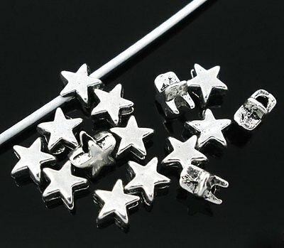 200PCs Silver Tone Charm Star Spacer Beads Jewelry Making DIY Accessories 6x6mm