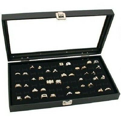 New lot of 2 Black 72 rings Jewelry Travel Showcase Display Glass top Lid Case