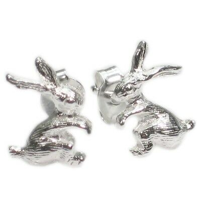 Rabbit sterling silver stud earrings .925 x 1 pair rabbits studs CE4454