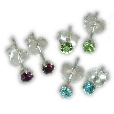 3 Pairs of RANDOM colour sterling silver stud earrings .925 CE4510