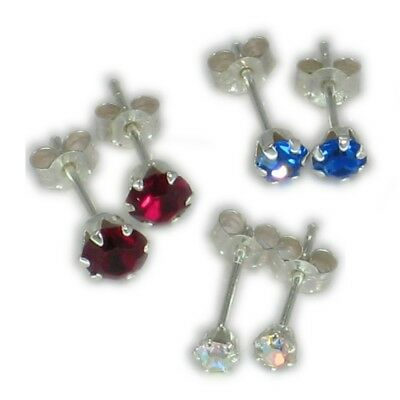 3 Pairs of RANDOM colour graduated size sterlng silver stud earrings .925 CE4511