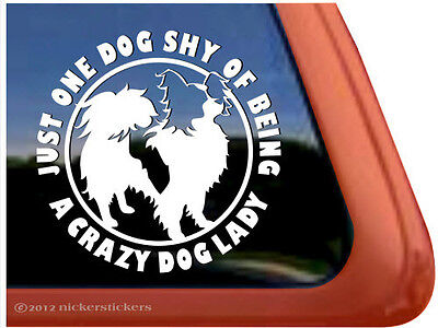 CRAZY DOG LADY ~ Papillon Dog Window Decal Sticker ~ Very Cute!