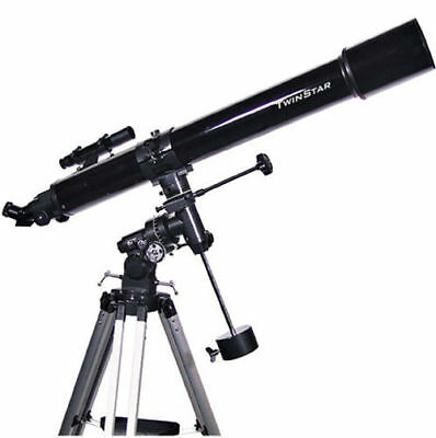 New Black 90mm Refractor Telescope w Tripod and Mount