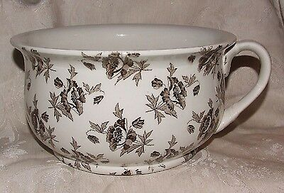 Mintons MALVERN CHAMBER POT Victorian Aesthetic Brown Floral Staffordshire