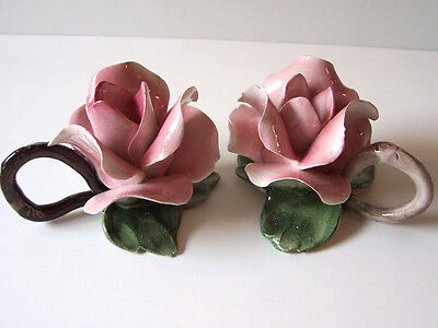 Vintage Nuova Capodimonte Italy Pair of Rose Candle Sticks Taper Crown Set of 2
