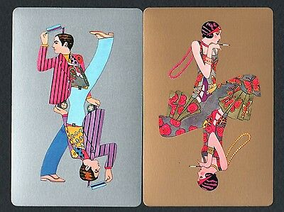 Vintage Swap/Playing Cards - Retro Lady & Gent on Gold & Silver Pair