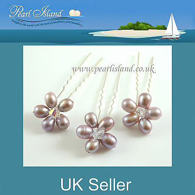 x3 Freshwater Pearl Hair Pins (Lavender) by Pearl Island