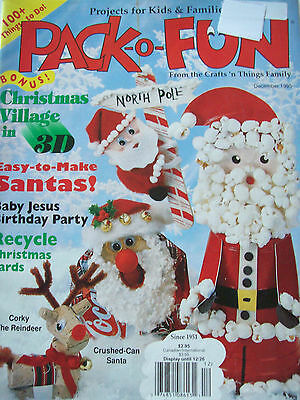 December 1995 Pack-O-Fun Craft Pattern Magazine Christmas Village Recycle Cards