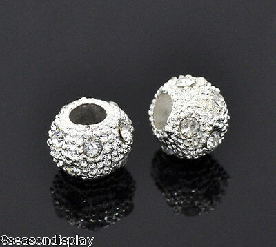 50Pcs Silver Plated Rhinestone Ball&Round Spacer Beads