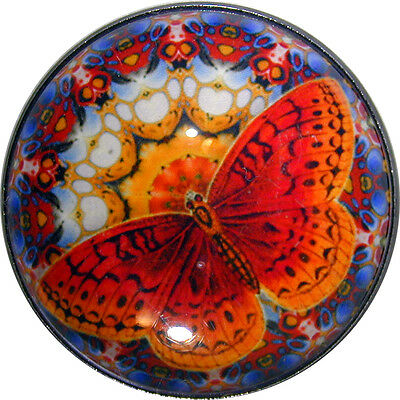 Butterfly &  Mandala Crystal Dome Button Orange/Red Lg Sz 1 & 3/8 inch B 61