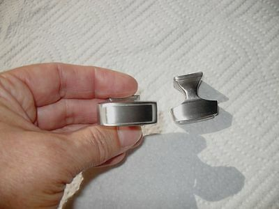 NEW Satin Chrome Metal DRAWER KNOBS Cabinet Door Pulls Stepped Edges Art Deco