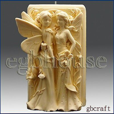 3D Silicone Candle Mold - Twin Fairys(2 parts assembled mold)-free shipping