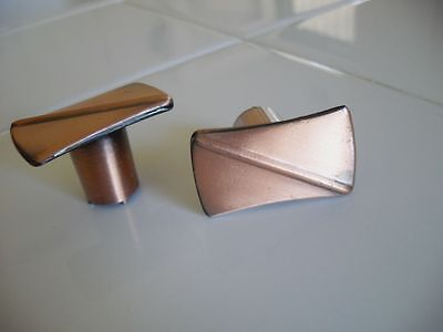 VINTAGE 1950s Rectangular COPPER Drawer Knobs Cabinet Door Pulls Handles UNIQUE