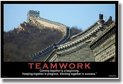 NEW Motivational TEAMWORK POSTER - Henry Ford Quote - Great Wall of China