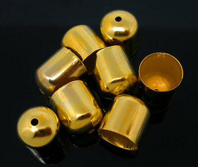 100Gold Plated Blunt Necklace End Tip Bead Caps 10x11mm