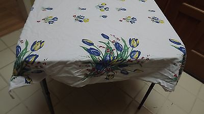 Vtg Printed Cotton Tablecloth - Tulips & Crocus - 45 x 48
