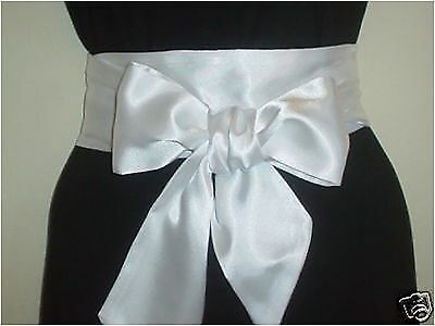 "3.5""x85"" Ivory Satin Sash Belt Self Tie Bow For Bride Wedding Party Prom Dress"