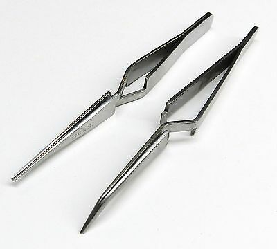 Cross Lock Tweezer Set of 2 - Bent & Straight Self Closing Holding Tweezers S.S.