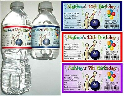 20 BOWLING BIRTHDAY PARTY FAVORS Water Bottle Labels - Glossy
