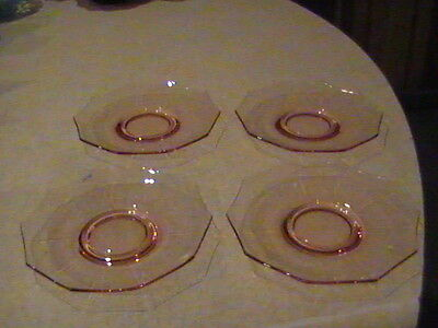 4 Cambridge Glass Decagon Pink Saucers Marked