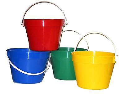 4 1 Gallon Buckets 1 ea Red Green Blue Yellow Made in America Lead Free No BPA