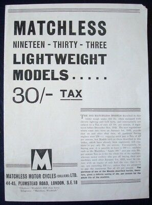 Matchless Light-Weight Models - Motorcycle Sales Brochure - 1933