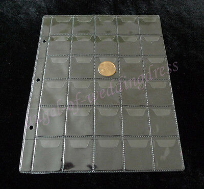 10 Pcs Album Pages 30 Pockets Money Coin Note Currency Holder Collection 38x34mm