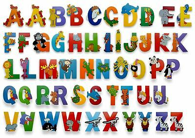 Vinsani Wooden Jungle Animal Upper Case Alphabet Letters Self Adhesive