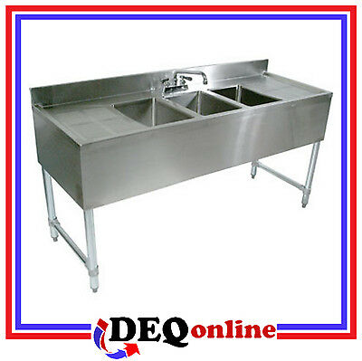 """NSF Certified Stainless Steel Under Bar 3-Bowl Sink, 60"""" Wide, Includes Faucet"""