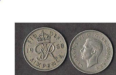 1950 Great Britain Sixpence