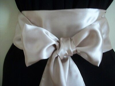 "3.5""x85"" CHAMPAGNE SATIN SASH BELT SELF TIE BOW UPDATE DRESS FOR PARTY PROM"