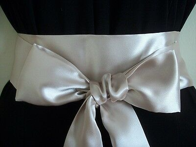 "2.5x60"" CHAMPAGNE SATIN SASH BELT SELF TIE BOW UPDATE PARTY DRESS WEDDING PROM"