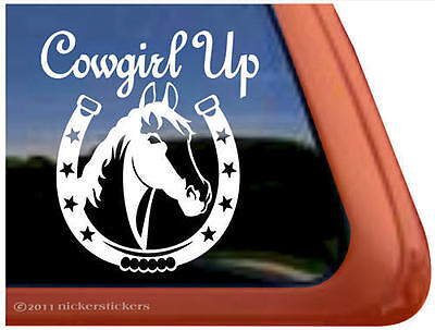 Cowgirl Up! ~ High Quality Vinyl Horse Shoe Horse Trailer Window Decal Sticker