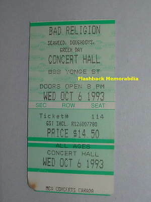 GREEN DAY / BAD RELIGION Concert Ticket Stub 1993 TORONTO CONCERT HALL Seaweed