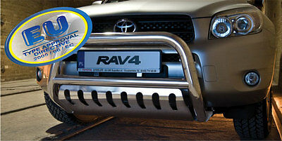 PARE BUFFLE TOYOTA RAV4  2006-2010 HOMOLOGUE INOX Ø 70 avec Plaque de protection