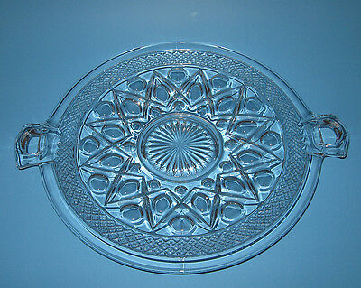 Imperial Glass CAPE COD Medium Handled Cake Plate Clear